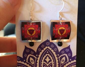 Bhairavi Yantra Earrings. Bhairavi Yantra. Tantric Earrings. Tantric Jewelry. Yantra Earrings.Yantra.Yantra Jewelry.Goddess Earrings.