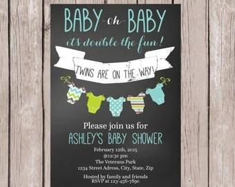 PRINTABLE- Twin Boys Baby Shower invite- Chalkboard Baby Shower Invite- Baby Shower Invite- Twins Baby Shower Invite- 5x7 JPG