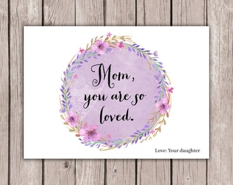 Mother's Day Card - Printable, Custom - DIY, MODERN, Wreath