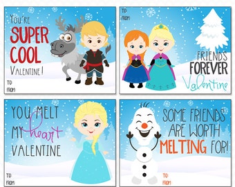 Printable Frozen Valentine Cards - Instant Download