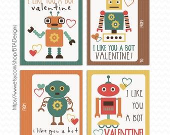 Printable Robot Valentine Cards - Instant Download