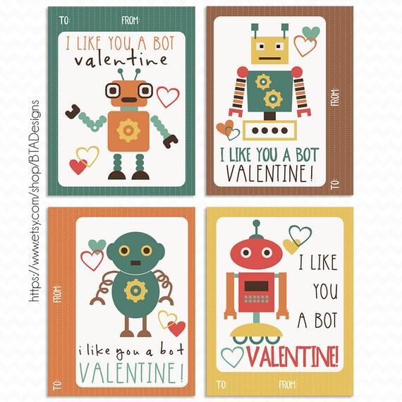printable robot valentine cards instant download