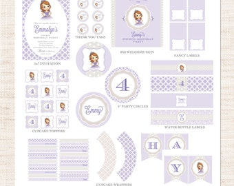 Sofia the First Birthday Party Full Printable Collection | Princess Party Printable Package | Girl Birthday | Gracie Lee Design