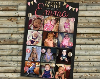 Twelve Months Photo Board | Chalkboard | First Birthday Party Decoration | Printable Digital File