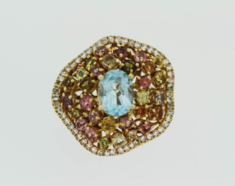 925  Vermeil Blue Topaz  / White Topaz  / Multicolor  Tormaline Ring .