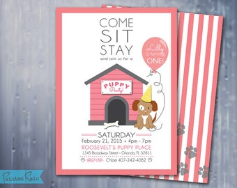 Puppy Birthday Invitation - Puppy Party, Puppy Pawty - Customizable Invitation,Water Bottle Labels & Cupcake Toppers