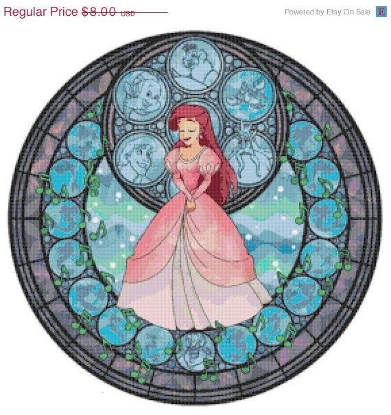 "ON SALE Counted Cross Stitch Patterns - Princess ariel stained glass - 19.86"" x 19.86"" - L775"