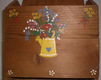 Repurposed Materials Pine Recipe, Notes, and Messages Box, Hand Painted, Classic Primitive Style