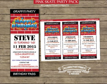 Instant download- Graffiti ticket style invitation printable-for personal use only