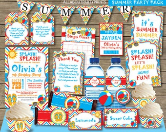 Instant Download- Summer Birthday Party Pack Printable -Kid Birthday Party-for personal use only-digital file