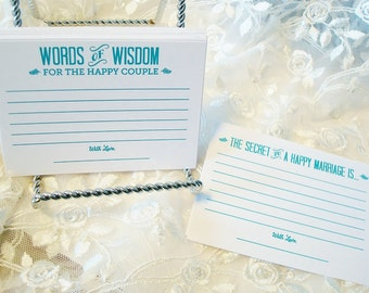 Blue Alternative Wedding Guest Book set of 36 Marriage Advice Cards