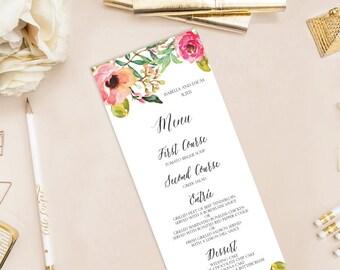 Isabella Printable Wedding Menu (DIY Card), Watercolor Floral Menu - Custom menu, Customizable Text
