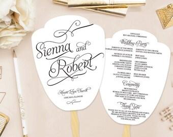 Sienna Printable Paddle Fan Wedding Program (DIY Program), Calligraphy, Script Program - Customizable text and colors