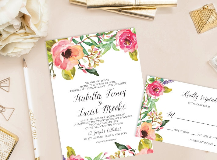 Wedding Invitation DIY Invitation Watercolor Floral Invitation