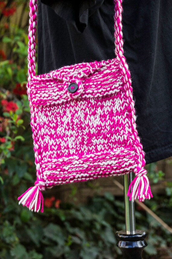 Bag Knitting Patterns In The Round : Pink and white Hand Knitted Shoulder Bag knitted bag hand