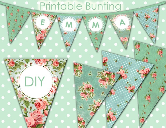 Printable Bunting Banner - Editable Vintage Shabby Chic Digital Bunting Banner - Add you text - DIY - INSTANT DOWNLOAD - 1239