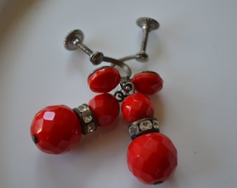Vintage Red Bead Earrings with Screw Posts