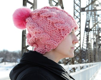 Pink cable hat, Bulky cable hat, knit hat, hat with pom pom, faux fur pom pom, gift for her, Christmas gift, Valentine's gift, gift idea