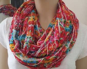 Ruffled floral print long infinity scarf, layers women's. // Ruffled Infinity Scarf // Ruffled Floral Print Scarf // Long Infinity Scarf //