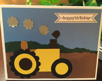 Child Tractor Birthday Card