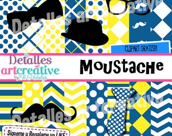 Papers & Clipart moustache Kit free!