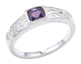 Silver Amethyst Celtic Ring