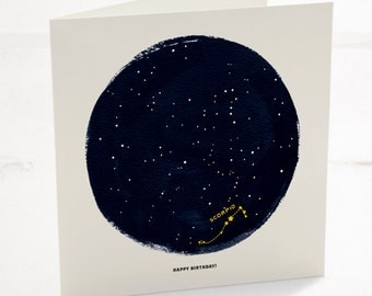 Scorpio Horoscope Astrology Birthday Card, Star sign zodiac with a minimalist astrology constellation design