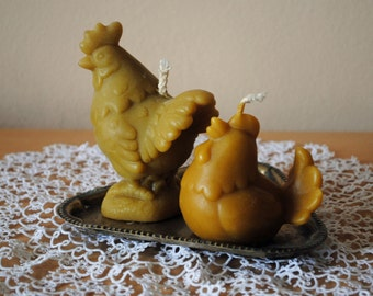 Beeswax Large Hen and Rooster Candles - Easter Candle, Easter decoration, gift