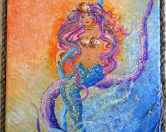 "Original Mermaid Painting ""Her Royal Highness Of The Sea"" - Whimsical, Sparkly, Fun 9"" x 12"" Mixed Media Original Mermaid Painting"