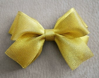 Metallic Gold Sheer Hair Bow Clip