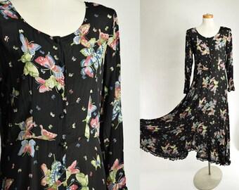 "90s Vintage Black Semi-Sheer Maxi Dress /  Butterfly Print / Small Medium 38"" Bust"