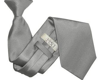 Satin Platinum Clip On Tie