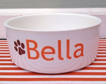 Personalized Ceramic Dog Bowl with Pawprint