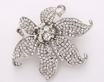 Large Rhinestone Crystal Brooch, Rhinestone Flower Brooch, Bridal Brooch, Wedding Brooch, Crystal Silver Brooch, Silver Rhinestone Brooches