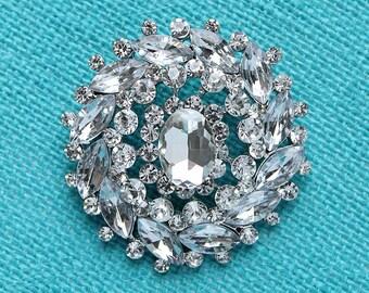 Silver Rhinestone Brooch, Wedding Brooch, Crystal Silver Broaches, Bridal Brooch, Cake Decor, Bouquet Brooches, Glam Wedding Brooches