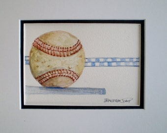 Baseball painting, Sports painting, Fathers Day,  original watercolor.