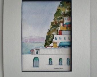 Mediterranean landscape painting, Greece, original art