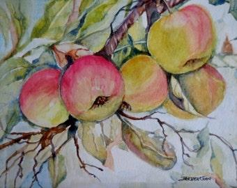 Peaches watercolor, kitchen art, original fruit painting