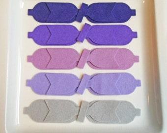 Wool Felt Bow Die Cut Set - 10 Medium  Dainty Style Bows