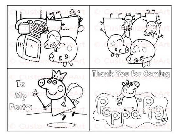 Colouring Pages For Peppa Pig Party Favor Printable Birthday Favors
