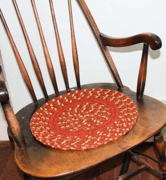 Braided Rug Pad: Set Of 4 Braided Rug Seat Pads Orange & Brown Seat Covers