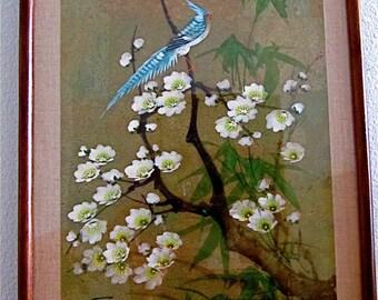 "Japanese Vintage Woodblock  #1 ""Blue Bird on Cherry Blossom Tree"""