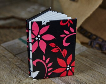 Seasonal Flowers Pattern Coptic Book, Small 80 Blank Pages