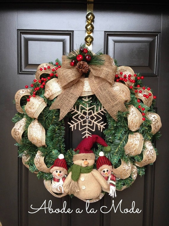 Burlap snowman christmas wreath for Snowman made out of burlap