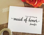 Wedding THANK YOU maid of honor thank you card, maid of honor gift thank you cards (Lovely)