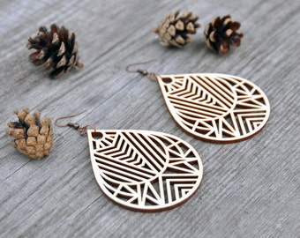 Geometric Drop Laser Cut Wood Earrings