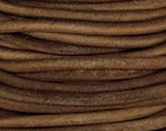 Leather Cord, 1.5 mm, Natural Light Brown, 1YD (LC-1.5-409)