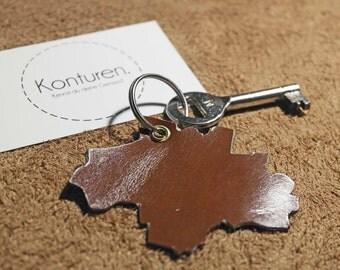 Munich keychains - key chain, leather, Brown