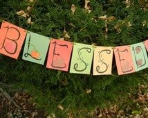 """Fall Banner Download """"Blessed & Thankful"""" DIY Whimsical, Colorful, and Illustrated"""