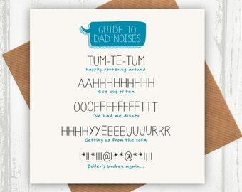 Funny Father's Day Card - Dad Birthday Card - A Guide To Dad Noises - funny dad birthday card - funny card for dad